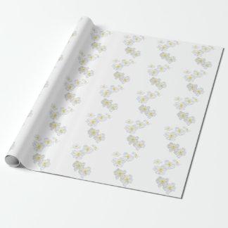 Papier Cadeau Papier d'emballage de fleurs blanches