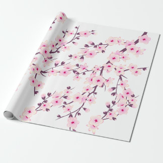 Papier Cadeau Papier d'emballage de fleurs de cerisier florales