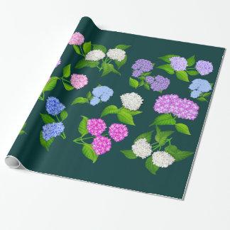 Papier Cadeau Papier d'emballage de fleurs de jardin d'hortensia