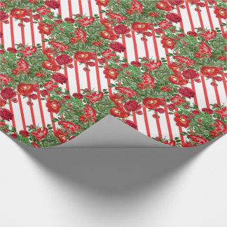 Papier Cadeau Papier d'emballage de fleurs de pivoine de roses