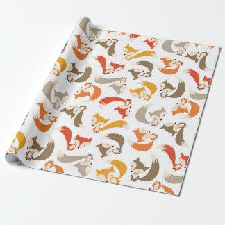 Papier Cadeau Papier d'emballage de Fox d'automne