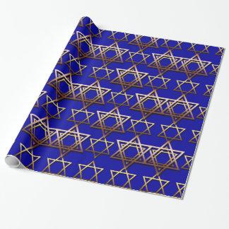 Papier Cadeau Papier d'emballage de Hanoukka d'étoile de David
