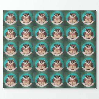 Papier Cadeau Papier d'emballage de hibou mignon de fête d'hiver