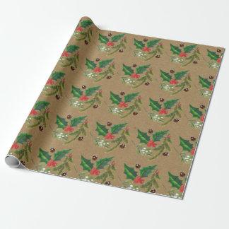 Papier Cadeau Papier d'emballage de houx de Noël