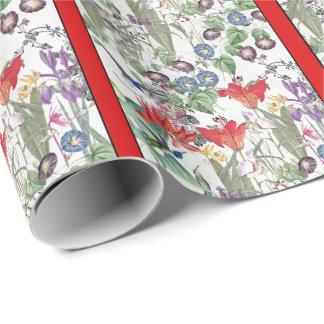 Papier Cadeau Papier d'emballage de jardin de fleurs d'oiseaux