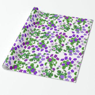 Papier Cadeau Papier d'emballage de jardin de fleurs pourpres de