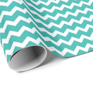 Papier Cadeau Papier d'emballage de motif blanc turquoise de