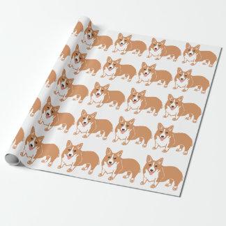 Papier Cadeau Papier d'emballage de motif de corgi de Gallois