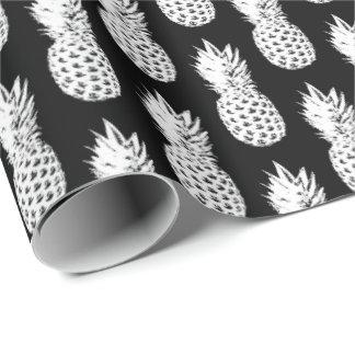 Papier Cadeau Papier d'emballage de motif noir et blanc d'ananas