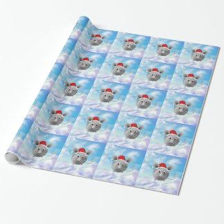 Papier Cadeau Papier d'emballage de Noël argenté de souris de