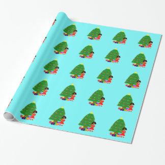 Papier Cadeau Papier d'emballage de Noël bleu-clair de Cuties de