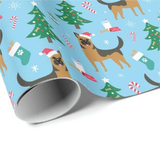Papier Cadeau Papier d'emballage de Noël de berger allemand
