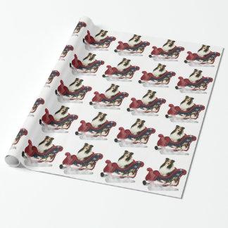 Papier Cadeau Papier d'emballage de Noël de chien de berger de