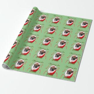 Papier Cadeau Papier d'emballage de Noël de chiot vert clair de