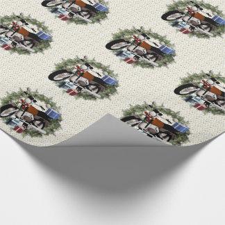 Papier Cadeau Papier d'emballage de Noël de guirlande de moto