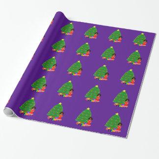 Papier Cadeau Papier d'emballage de Noël pourpre de Cuties de
