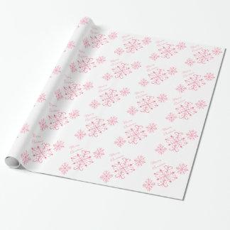 Papier Cadeau Papier d'emballage de Noël rose de flocons de