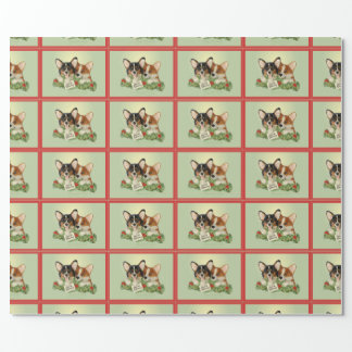 Papier Cadeau Papier d'emballage de Noël tricolore de corgi