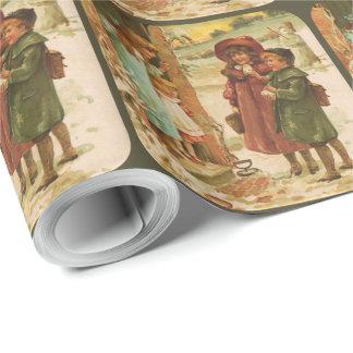 Papier Cadeau Papier d'emballage de Noël victorien d'enfants