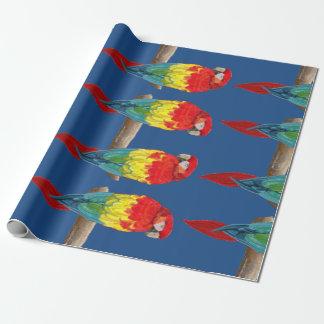 Papier Cadeau Papier d'emballage de perroquets colorés