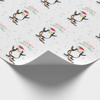 Papier Cadeau Papier d'emballage de pingouin de Noël d'hockey