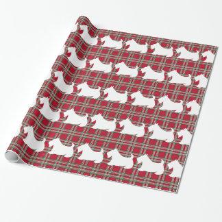 Papier Cadeau Papier d'emballage de plaid de Terrier d'écossais