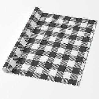 Papier Cadeau Papier d'emballage de plaid noir et blanc de