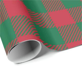 Papier Cadeau Papier d'emballage de plaid rouge et vert de
