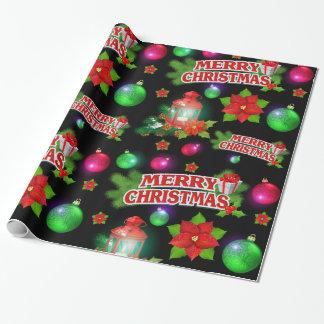 Papier Cadeau Papier d'emballage de poinsettia verte noire rouge