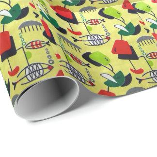 Papier Cadeau Papier d'emballage de poissons atomiques modernes
