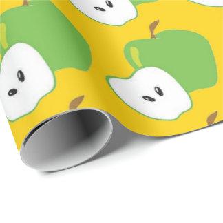 Papier Cadeau papier d'emballage de pomme de motif vert de fruit