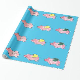 Papier Cadeau Papier d'emballage de porcs de vol