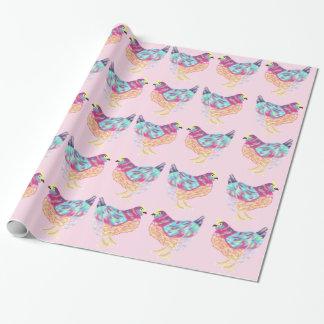 Papier Cadeau Papier d'emballage de poulet coloré heureux dans
