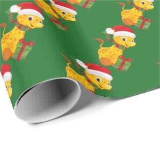 Papier Cadeau Papier d'emballage de première girafe de Noël du