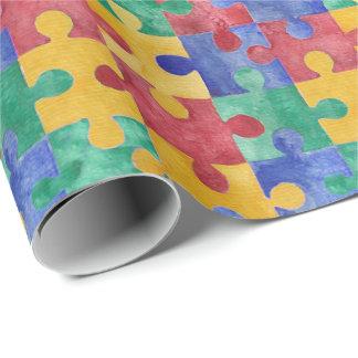 Papier Cadeau Papier d'emballage de puzzle d'aquarelle d'autisme