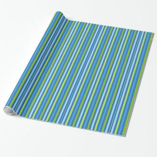 Papier Cadeau Papier d'emballage de rayure bleue et verte