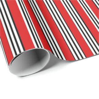 Papier Cadeau Papier d'emballage de rayures blanches noires