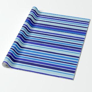 Papier Cadeau Papier d'emballage de rayures bleues