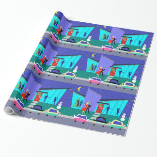 Papier Cadeau Papier d'emballage de rétro de vacances partie de