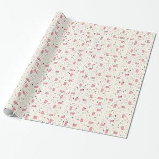Papier Cadeau Papier d'emballage de rétro motif rose atomique