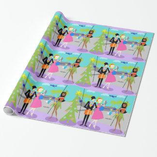 Papier Cadeau Papier d'emballage de rétro Noël hawaïen