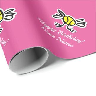 Papier Cadeau Papier d'emballage de tennis d'anniversaire rose