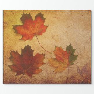 Papier Cadeau Papier d'emballage de trois feuilles d'automne
