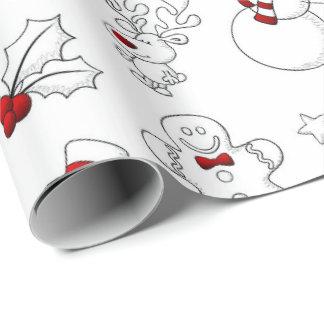 Papier Cadeau Papier d'emballage de vacances d'amis de Noël