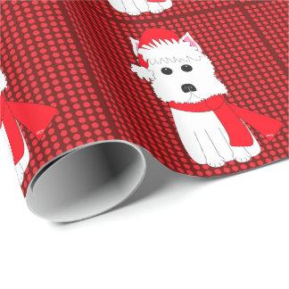 Papier Cadeau Papier d'emballage de vacances de chien de Westie