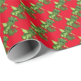 Papier Cadeau Papier d'emballage de vacances de dragon de Noël