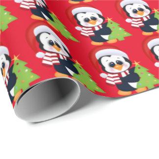 Papier Cadeau Papier d'emballage de vacances de pingouin de Noël