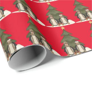 Papier Cadeau Papier d'emballage de vacances de pingouins de