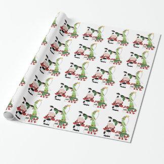 Papier Cadeau Papier d'emballage de vacances de vache à Noël