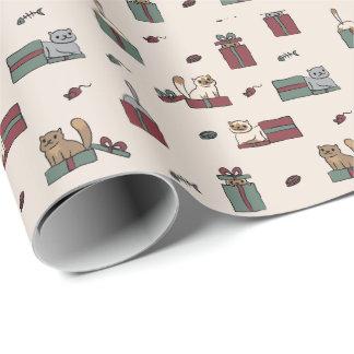 Papier Cadeau Papier d'emballage de vacances mignonnes de chat